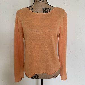 Eileen Fisher Orange Linen Sweater Sz S